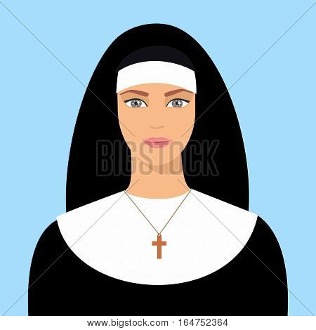 Nun Flat Vector Isolated - Nun flat icon with a cross - christian catholic religious vector graphic isolated illustration
