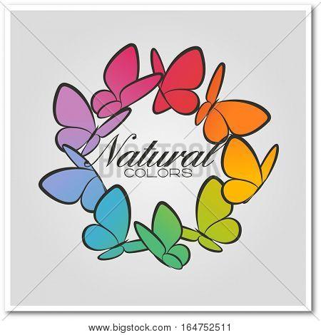 Multicolored butterflies. Beautiful vector illustration.