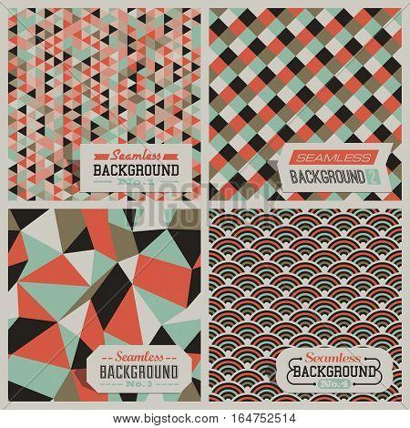 Set of retro-styled seamless patterns. Vector illustration.