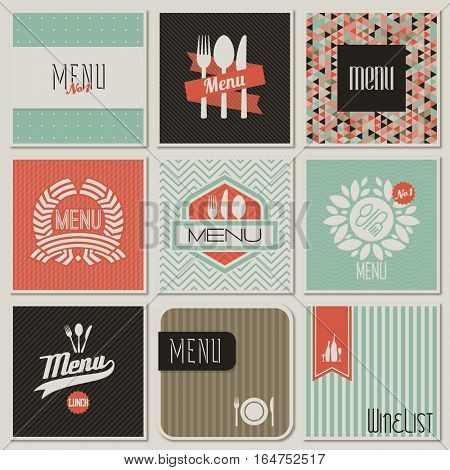Restaurant menu designs. Retro-styled illustration.