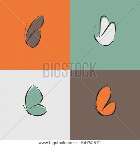 Butterflies. Set of vector design elements.