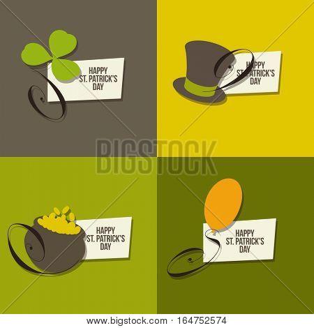 St. Patrick's Day symbols. Set of vector illustrations