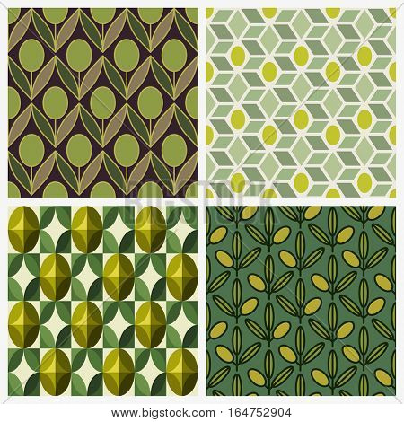 Olive. Set of seamless backgrounds