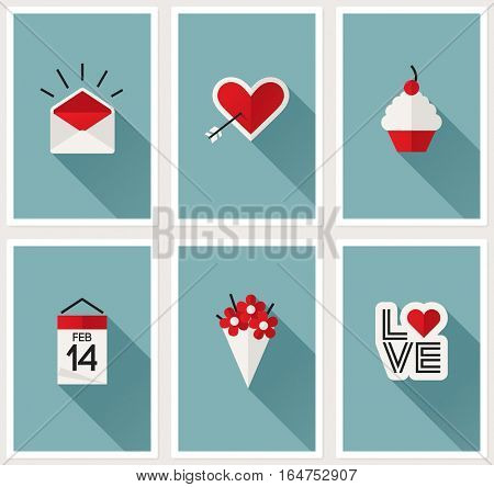 Set of romantic Valentines day symbols