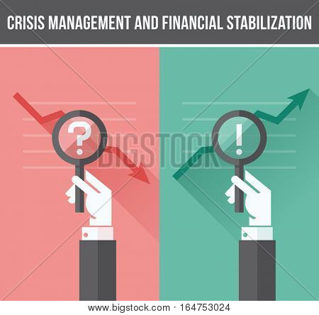 Flat design concept of analyzing business financial and economic crisis and growth