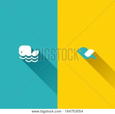 Whale and bird. Modern flat vector design elements