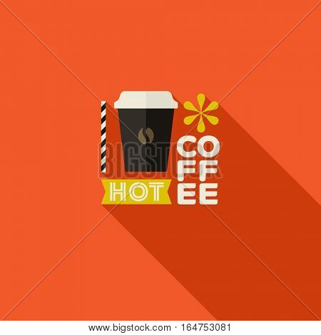 Hot coffee. Colorful vector flat design with long shadow