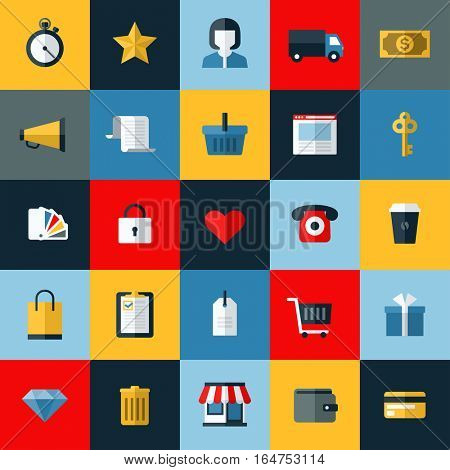 Set of flat vector online shopping and e-commerce themed icons for websites and mobile phone services and apps