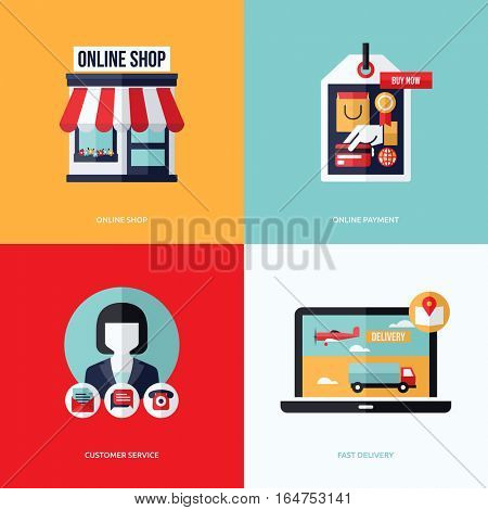 Flat vector design with e-commerce and online shopping icons and elements. Symbols of online shop, online payment, customer service and delivery