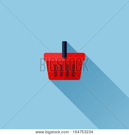 Modern flat vector icon of shopping basket
