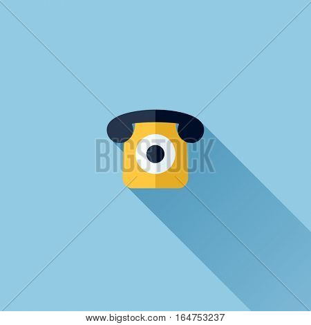 Modern flat vector icon of retro telephone
