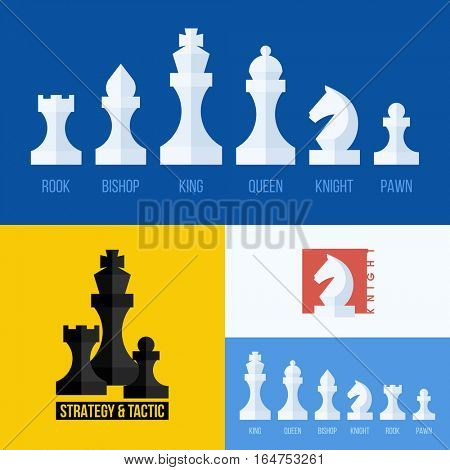 Modern flat vector set of chess icons. Chess pieces including king, queen, bishop, knight, rook, pawn
