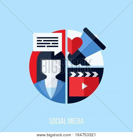Flat vector concept of social media marketing. Creative design elements for websites, mobile apps and printed materials