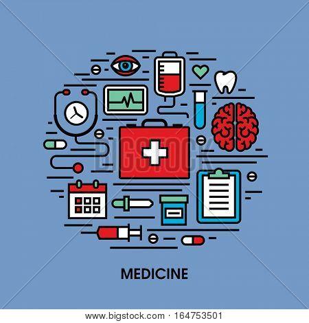 Flat line icons set of medicine