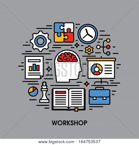 Workshop flat line icons. Creative design elements