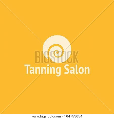 Tanning salon logo design vector template. Swirly sun icon