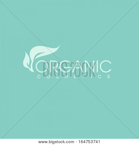Organic cosmetics logo design vector template. Green leaf icon