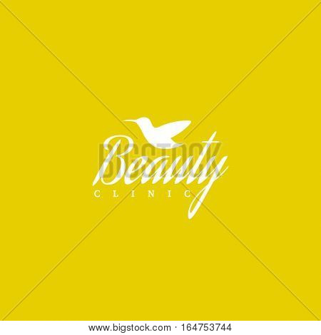 Beauty clinic logo design vector template. Hummingbird icon