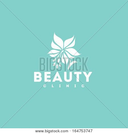 Beauty clinic logo design vector template. White lily icon