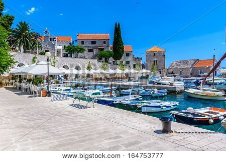View at city center of mediterranean town Bol, famous touristic destination on Island Brac, Croatia european travel destination.