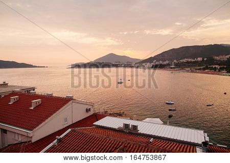 picturesque sunset seascape in Europe. Montenegro, Rafailovici