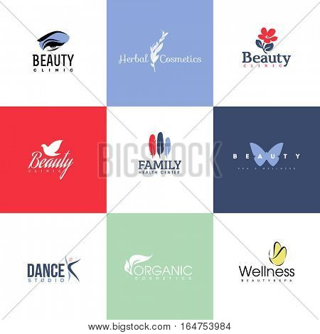 Set of modern beauty and nature logo templates and icons