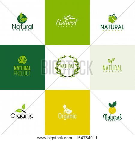 Set of natural and organic products logo templates. Icons of leaves and branches