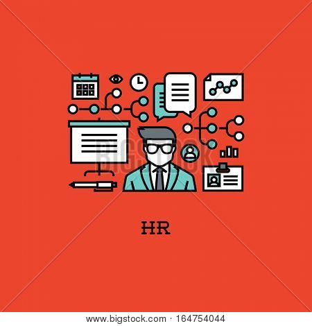 Flat line icons set of HR. Creative design elements for websites, mobile apps and printed materials