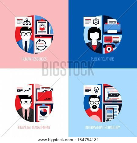 Flat design concepts for employees of human resources, public relations, financial management, information technology. Modern vector illustration for website banner, landing page and mobile apps