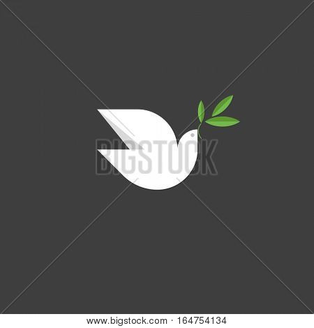 Peace dove with green branch. Flat design style vector illustration