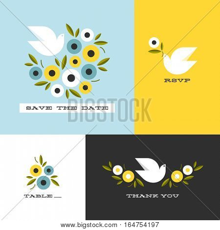 Dove and floral wreath of anemones. Flat style vector design elements