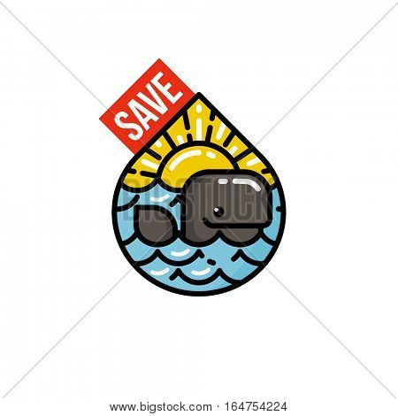 Save the planet and Earth day concept with cheerful whale at sunset. Modern flat line vector illustration