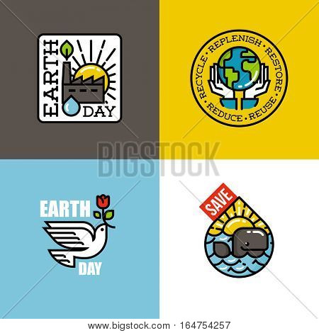 Earth day concepts set with eco-friendly factory at sunrise, human hands holding Earth, peace dove with red flower, cheerful whale at sunset. Creative flat line vector illustration