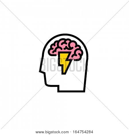 Creative logo template of brainstorming. Flat line icon