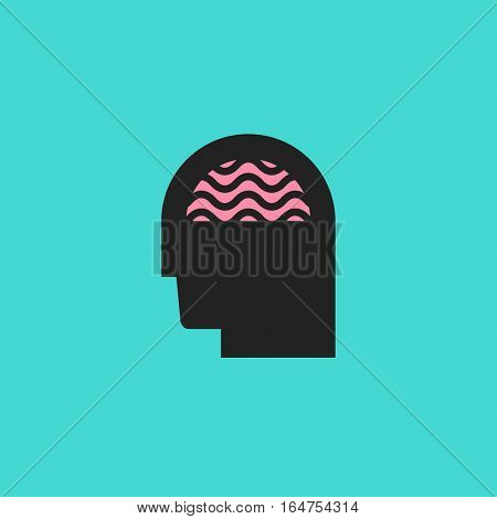 Abstract icon of human silhouette with brain. Idea, creativity or brainstorm logo
