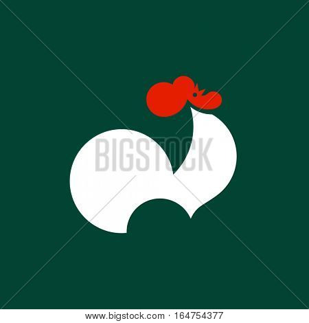 Silhouette of crowing rooster. Modern flat vector logo template or icon of cock