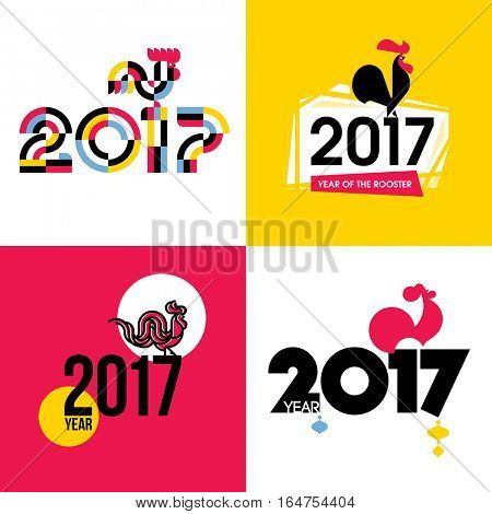 Stylish flat vector illustration of fire cock as symbol of 2017 year on the Chinese calendar. New Year design with silhouette of red rooster