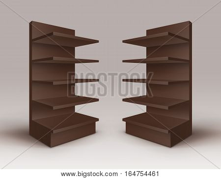 Vector Set of Brown Blank Empty Exhibition Trade Stands Shop Racks with Shelves Storefronts Isolated on Background