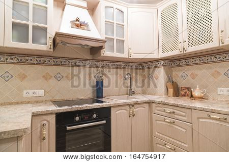 interior of a modern kitchen with appliances