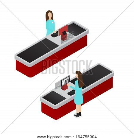Cashier and Cash Register Terminal Isometric View Woman at Workplace Equipment Shop, Supermarket. Vector illustration