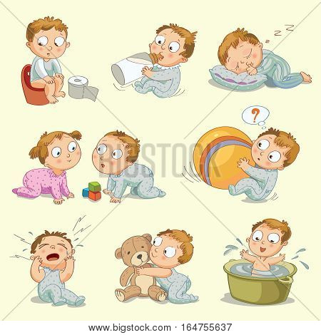 A baby sitting on the pot, drinks milk from a bottle, sleeps on a pillow, little boy playing with a little girl, playing with a big ball, hugging a teddy bear, wash in a bath tub, vector illustration