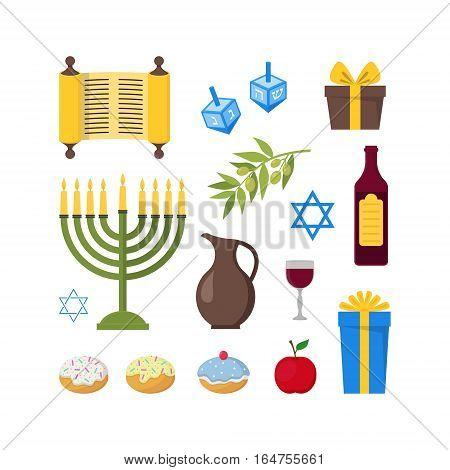Cartoon Hanukkah Set Jewish Holiday Traditional Culture Symbol Flat Design Style. Vector illustration