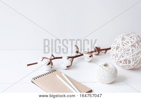 Minimal feminine elegant composition with cotton, balls and notebook for blogs, shops and social media