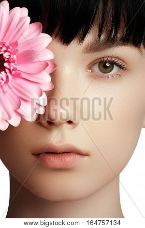 Beautiful Happy Woman With  Flower. Woman Beauty Face Portrait W