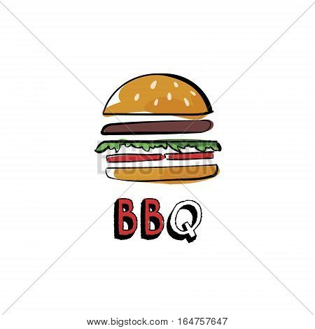 Burger bbq. Hand drawn burger isolated lettering