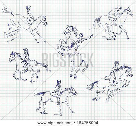 Jockey riding a horse. Set. Hand-drawn. Vector illustration