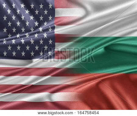 USA and Bulgaria. Relations between two countries. 3D illustration.