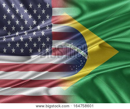 USA and Brazil. Relations between two countries. 3D illustration.