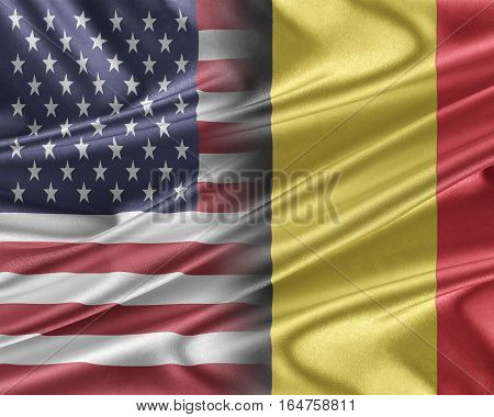 USA and Belgium. Relations between two countries. 3D illustration.