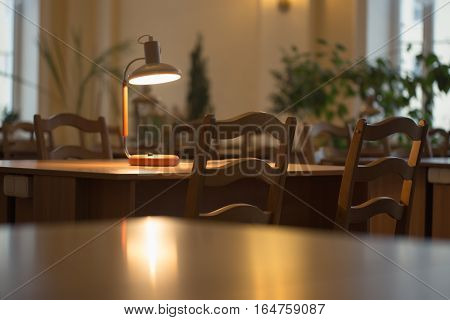 Reading At The Table With A Lamp In The Library